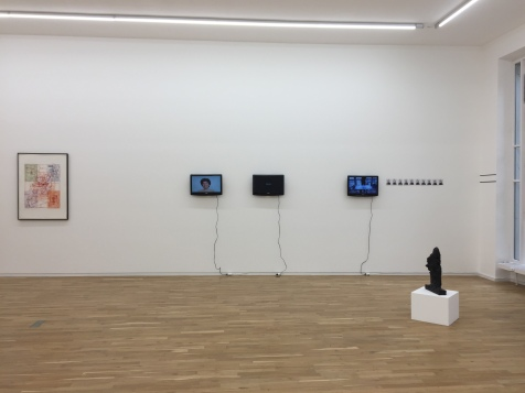 Exhibition view. From left to right: Hermann Nistch, Ohne Titel (Variation Entwurf zu einem Gralstempel), 1985–1990; Esther Ferrer, Extrañeza, desprecio, dolor y un largo etc., 2013; Lenora Barros, Estudo para facadas, 2012; Pauline Beaudemont, Originale, 2018; Alessandro Balteo-Yazbeck, Level, 2017 (Private Performance); and Per Kirkeby, Kopf und Arm I, 1985.