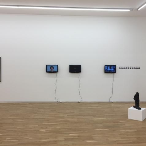Exhibition view. From left to right: Hermann Nistch, Ohne Titel (Variation Entwurf zu einem Gralstempel), 1985–1990; Esther Ferrer, Extrañeza, desprecio, dolor y un largo etc., 2013; Lenora Barros, Estudo para facadas, 2012; Pauline Beaudemont, Originale, 2018; Alessandro Balteo-Yazbeck, Level, 2017 (Private Performance); and Per Kirkeby, Kopf und Arm I, 1985.