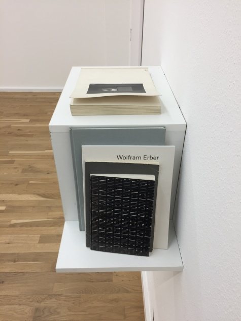 Wolfram Erber, 65 Aufnahmen aus meinem atelier, 1977—78; Ein Würfelwurf von Stehane Mallarmé in der Übersetzung von Marie-Louise Erlenmeyer; 39 Pastellbilder, 2012 – 2014; and 24 Kombinationen nach dem J Ging für Altflöte Solo, 1982.